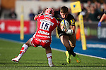 Saracens' David Strettle takes on Gloucester's Rob Cook - Rugby Union - 2014 / 2015 Aviva Premiership - Saracens vs. Gloucester - Allianz Park Stadium - London - 11/10/2014 - Pic Charlie Forgham-Bailey/Sportimage
