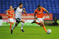 Blackpool's Sean Scannell under pressure from Bolton Wanderers' Jason Lowe<br /> <br /> Photographer Kevin Barnes/CameraSport<br /> <br /> The EFL Sky Bet League One - Bolton Wanderers v Blackpool - Monday 7th October 2019 - University of Bolton Stadium - Bolton<br /> <br /> World Copyright © 2019 CameraSport. All rights reserved. 43 Linden Ave. Countesthorpe. Leicester. England. LE8 5PG - Tel: +44 (0) 116 277 4147 - admin@camerasport.com - www.camerasport.com