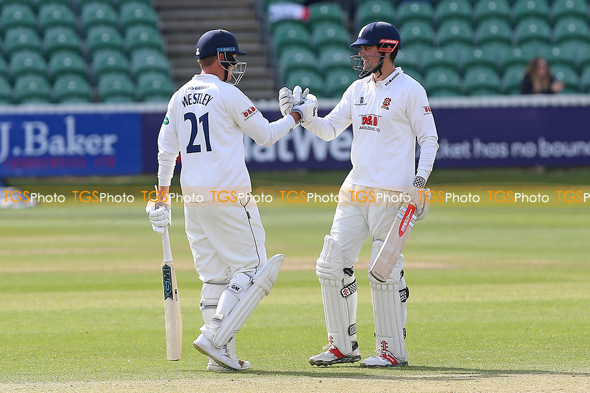 Alastair Cook of Essex (R) celebrates scoring a century, 100 runs and his congratulated by Tom Westley during Somerset CCC vs Essex CCC, Specsavers County Championship Division 1 Cricket at The Cooper Associates County Ground on 16th April 2017