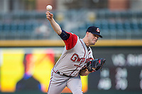 Gwinnett Braves starting pitcher Jake Brigham (28) delivers a pitch to the plate against the Charlotte Knights at BB&T BallPark on August 24, 2015 in Charlotte, North Carolina.  The Knights defeated the Braves 3-2.  (Brian Westerholt/Four Seam Images)