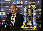 Mark Warburton at Hampden on Scottish Cup media duties