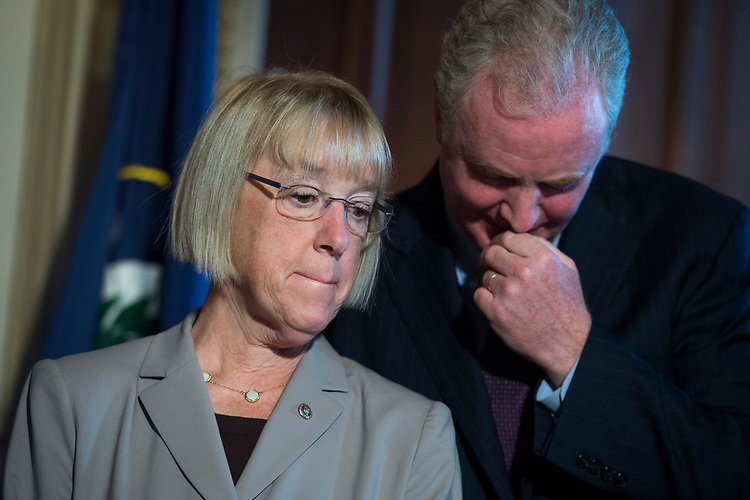 UNITED STATES - JULY 11: Sens. Chris Van Hollen, D-Md., and Patty Murray, D-Wash., conduct a news conference in the Capitol to oppose the nomination of Brett Kavanaugh to the Supreme Court because they say he would be open to questions about the constitutionality of the Affordable Care Act on July 11, 2018. (Photo By Tom Williams/CQ Roll Call)