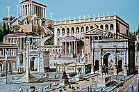 An artistic representation of the Roman forum in the ancient Roman capital, Rome, Italy