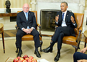 United States President Barack Obama, left, meets retired NASA astronaut Scott Kelly, right, and his brother Mark in the Oval Office of the White House in Washington, DC on Friday, October 21, 2016.<br /> Credit: Ron Sachs / Pool via CNP