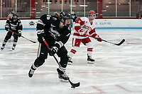 BOSTON, MA - JANUARY 11: Sara Hjalmarsson #19 of Providence College crosses the blue line during a game between Providence College and Boston University at Walter Brown Arena on January 11, 2020 in Boston, Massachusetts.