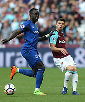West Ham United's Aaron Cresswell and Everton's Oumar Niasse<br /> <br /> Photographer Rob Newell/CameraSport<br /> <br /> The Premier League - West Ham United v Everton - Sunday 13th May 2018 - London Stadium - London<br /> <br /> World Copyright &copy; 2018 CameraSport. All rights reserved. 43 Linden Ave. Countesthorpe. Leicester. England. LE8 5PG - Tel: +44 (0) 116 277 4147 - admin@camerasport.com - www.camerasport.com