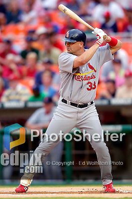 26 August 2005: Larry Walker, outfielder with the St. Louis Cardinals, at bat against the Washington Nationals. The Nationals defeated the Cardinals 4-1 at RFK Stadium in Washington, DC. Mandatory Photo Credit: Ed Wolfstein.