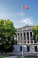 A flag flying high in the California Capitol, Sacramento, CA.