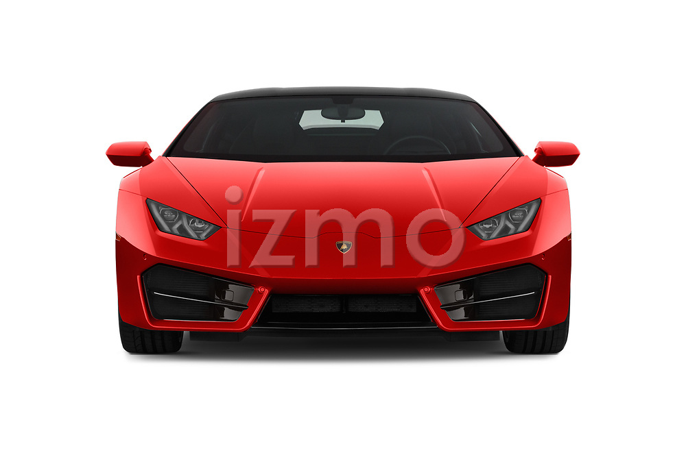 Car photography straight front view of a 2017 Lamborghini Huracan 580 2 Door Coupe Front View