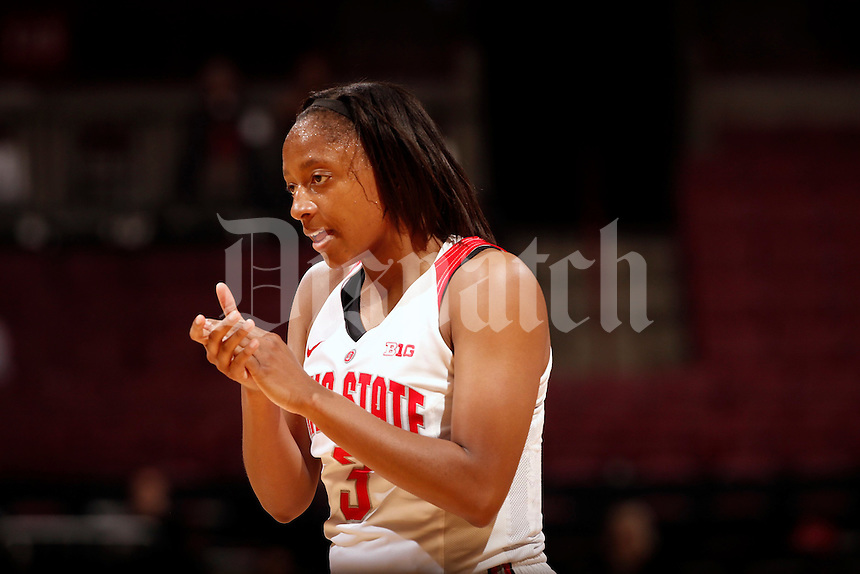 Ohio State Buckeyes guard Kelsey Mitchell (3) cheers on her teammates against Ashland in the 1st half during their exhibition game against Ashland at Value City Arena in Columbus, Ohio on November 6, 2016.  (Kyle Robertson)
