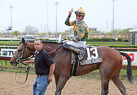 DONE TALKING and jockey Sheldon Russell after winning the GIII TVG Illinois Derby at Hawthorne Race Course in Cicero/Stickney, IL.