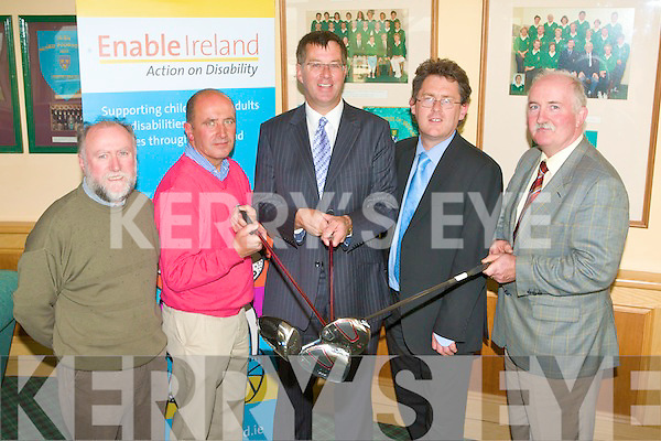 CAPTAINS DAY: Barry Murphy the Tralee golf club captain launching the Charity Captains day in aid of Enable Ireland with sponsors Enda O'Brien and Pat Crean of Oakview Village at the clubhouse in Barrow on Thursday l-r: Enda O'Brien and Pat Crean (Oakview Village), Barry Murphy (club captain), Sean Scally (Enable Ireland) and Jerry Leyden (former club captain).