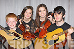 String musicians l-r: Morgan Sayers Inch, Caoimhe Healy Tralee, Fiona Wolff Ardfert and Jack Regan Ardfert who entertained the crowds at the Kerry School of Music 30th anniversary gala concert in the Malton Hotel Killarney on Sunday night....