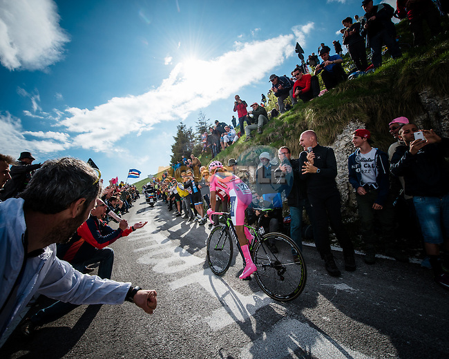 Maglia Rosa leader Nairo Quintant (COL) Movistar Team in action during Stage 19 of the 2014 Giro d&rsquo;Italia a 26.8km mountain time trial running from Bassano del Grappa to Cima Grappa, Italy. 29th May 2014.<br /> Picture: gruberimages.pro/LaPresse/www.newsfile.ie