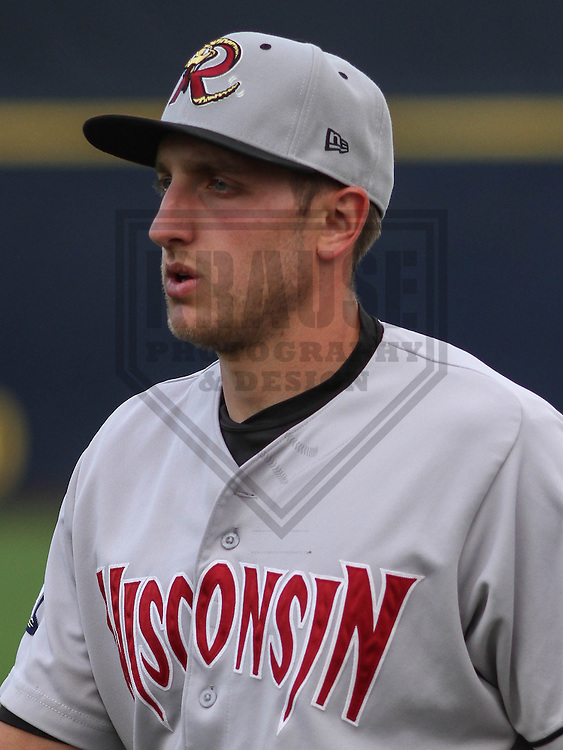 DAVENPORT - May 2015: Wisconsin Timber Rattlers third baseman Dustin DeMuth (12) during a Midwest League game against the Quad Cities River Bandits on May 8th, 2015 at Modern Woodmen Park in Davenport, Iowa.  Quad Cities defeated Wisconsin 11-6.  (Brad Krause/Krause Sports Photography)