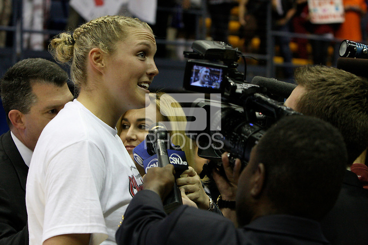 BERKELEY, CA - MARCH 30: Jayne Appel in front of the media following Stanford's 74-53 win against the Iowa State Cyclones on March 30, 2009 at Haas Pavilion in Berkeley, California.