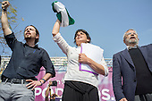 Podemos Secretary General Pablo Iglesias,  presidential candidate Teresa Rodriguez and local candidate Felix Gil at a rally in Malaga a week before Andalusian parliamentary elections in which the grassroots party is hoping to make significant gains.
