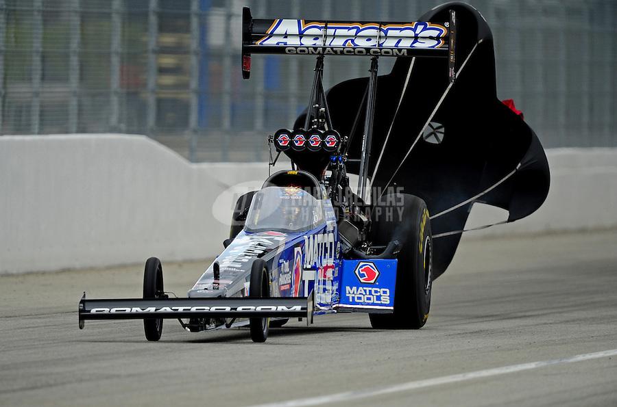 Nov. 12, 2011; Pomona, CA, USA; NHRA top fuel dragster driver Antron Brown during qualifying at the Auto Club Finals at Auto Club Raceway at Pomona. Mandatory Credit: Mark J. Rebilas-.