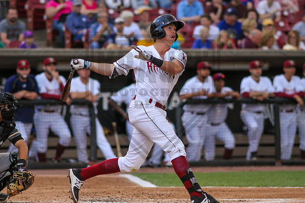 Wisconsin Timber Rattlers second baseman Tucker Neuhaus (19) during a Midwest League game against the Quad Cities River Bandits on June 8, 2017 at Fox Cities Stadium in Appleton, Wisconsin.  Wisconsin defeated Quad Cities 8-3. (Brad Krause/Krause Sports Photography)