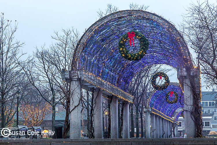 Christmas lights on the pergola in Waterfront Park, Boston, Massachusetts, USA