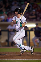Dayton Dragons catcher Tyler Stephenson (9) follows through on a swing during a game against the Cedar Rapids Kernels on May 10, 2017 at Fifth Third Field in Dayton, Ohio.  Cedar Rapids defeated Dayton 6-5 in ten innings.  (Mike Janes/Four Seam Images)