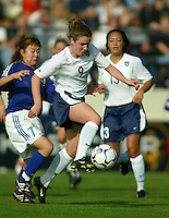 22Heather O'Reilly dribbles in front of Japan's Yayoi Kobayashi during a 0-0 tie in San Diego, Calif.,  January 12, 2003.