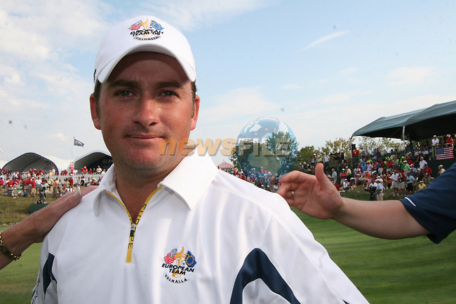 Graeme McDowell with a somber face after europe lost during the final round of Single Matches at The 37th Ryder cup from Valhalla Golf Club in Louisville, Kentucky....Photo: Fran Caffrey/www.golffile.ie.