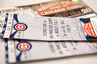 Close up photo of tickets to a Chicago Cubs baseball game in Wrigley Field in 2011.