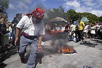 Guatemalan natives carry out a ceremony in the framework of the World Social Forum in Belem, in Para, in the heart of the Brazilian Amazon, on January 28, 2009. Thousands of people are gathering in Belem for the six-day World Social Forum that aims to provide a leftist counterweight to the World Economic Forum in Davos, Switzerland.