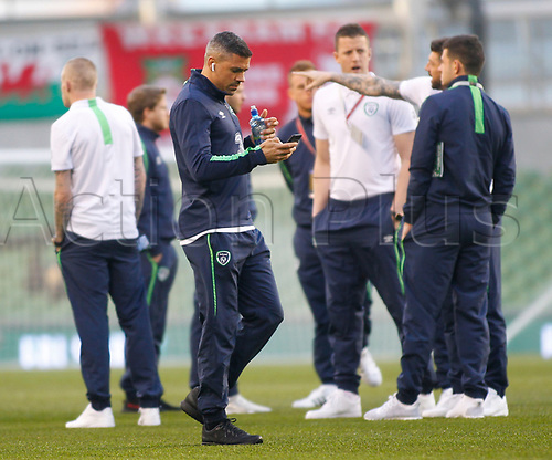 March 24th 2017, Aviva Stadium, Dublin, Republic of Ireland; World Cup 2018 Qualifier mens football, Republic of Ireland versus Wales; Jonathan Walters and the Irish team inspect the pitch before kick-off