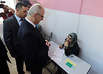 """Palestinian Prime Minister Rami Hamdallah visits a school during the first day of high school exams, known as """"Tawjihi"""" in the West Bank city of Nablus on June 03, 2017. Photo by Prime Minister Office"""
