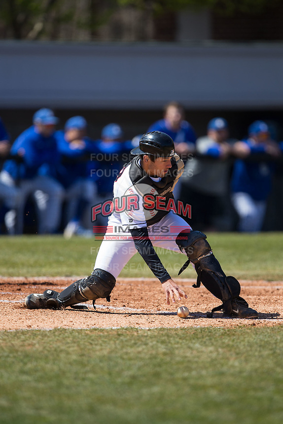 Davidson Wildcats catcher Cody White (39) picks up the baseball during the game against the Saint Louis Billikens at Wilson Field on March 28, 2015 in Davidson, North Carolina. (Brian Westerholt/Four Seam Images)