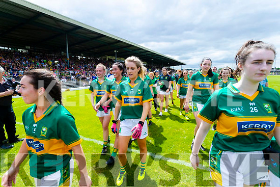 Kerry players celebrate winning the TG4 Munster Senior Ladies Football Championship semi-final match between Kerry and Waterford at Fitzgerald Stadium in Killarney on Sunday.