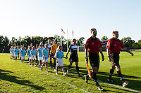 Sky Blue FC players enter the field. Sky Blue FC defeated the Washington Spirit 1-0 during a National Women's Soccer League (NWSL) match at Yurcak Field in Piscataway, NJ, on July 6, 2013.