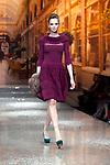 March 29, 2012, Tokyo Japan - A model walks down the catwalk wearing Yuki Torii's design. Run way of Yuki Torii International.