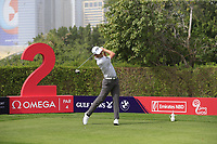 Renato Paratore (ITA) on the 2nd tee during Round 1 of the Omega Dubai Desert Classic, Emirates Golf Club, Dubai,  United Arab Emirates. 24/01/2019<br /> Picture: Golffile | Thos Caffrey<br /> <br /> <br /> All photo usage must carry mandatory copyright credit (&copy; Golffile | Thos Caffrey)