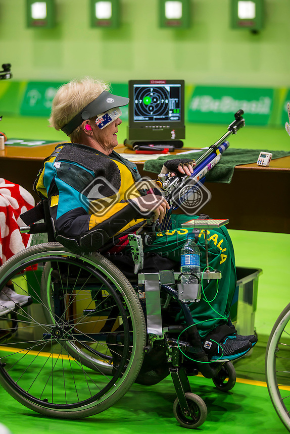 Elizabeth Kosmala during the Women's 10m Air Rifle Standing SH1 / Qualification<br /> Olympic Shooting Centre<br /> 2016 Paralympic Games - RIO Brazil<br /> Australian Paralympic Committee<br /> Thursday 8 September 2016<br /> &copy; Sport the library / Greg Smith