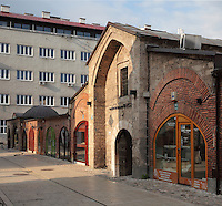 The Gazi Husrev-beg bezistan or vaulted marketplace near the Gazi Husrev-beg Mosque, built 1530-32, Sarajevo, Bosnia and Herzegovina. The complex includes a maktab and madrasa (Islamic primary and secondary schools), a bezistan and a hammam. The mosque complex was renovated after damage during the 1992 Siege of Sarajevo during the Yugoslav War. Picture by Manuel Cohen