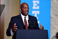 Philadelphia, PA - September 27, 2016: Dwight Evans, democratic candidate for Pennsylvania's 2nd Congressional District, speaks during a campaign stop to support Hillary Clinton's presidential campaign at Drexel University in Philadelphia, Pennsylvania, September 27, 2016.  (Photo by Don Baxter/Media Images International)