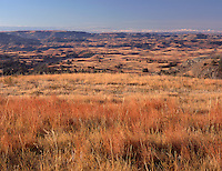 NDTR_127 - USA, North Dakota, Theodore Roosevelt National Park, Autumn-colored grasses dominate view south from Boicourt Overlook, South Unit.