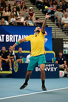 9th January 2020; Sydney Olympic Park Tennis Centre, Sydney, New South Wales, Australia; ATP Cup Australia, Sydney, Day 7; Great Britain versus Australia; Cameron Norrie of Great Britain versus Nick Kyrgios of Australia; Nick Kyrgios of Australia serves to Cameron Norrie of Great Britain - Editorial Use