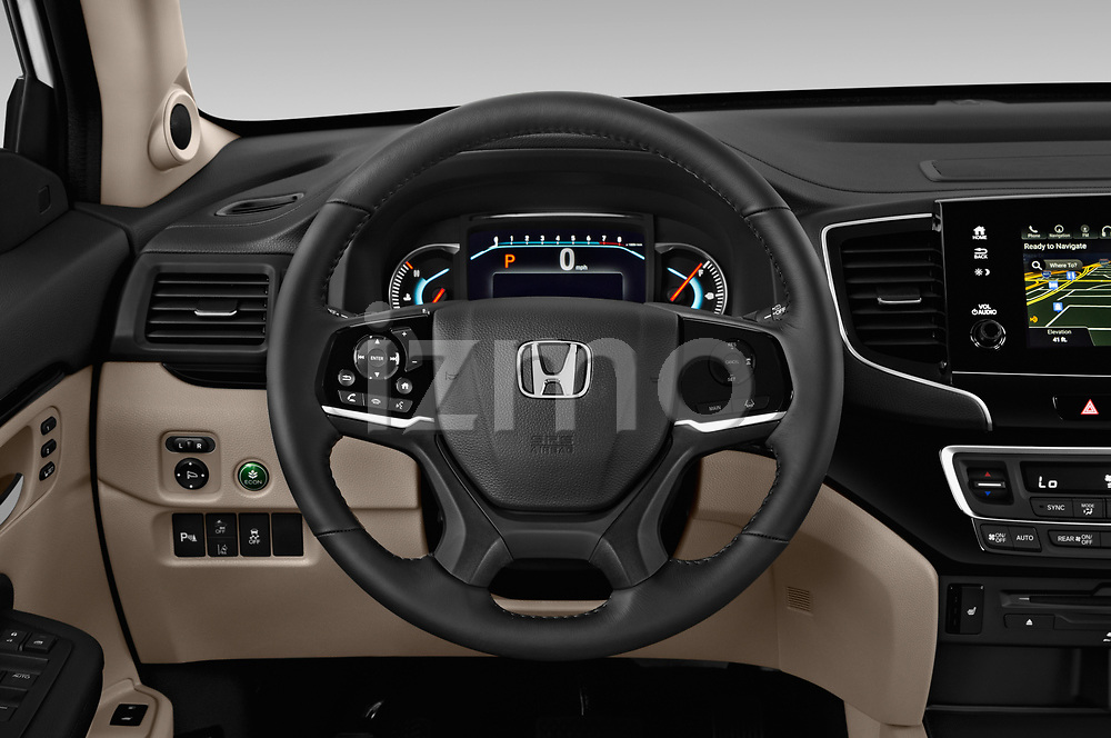 Car pictures of steering wheel view of a 2019 Honda Pilot Touring 5 Door SUV