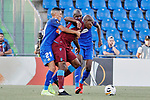 Fayçal Fajr (L) and Djene Dakoman (R) of Getafe CF and Anthony Nwakaeme of Trabzonspor during UEFA Europa League match between Getafe CF and Trabzonspor at Coliseum Alfonso Perez in Getafe, Spain. September 19, 2019. (ALTERPHOTOS/A. Perez Meca)