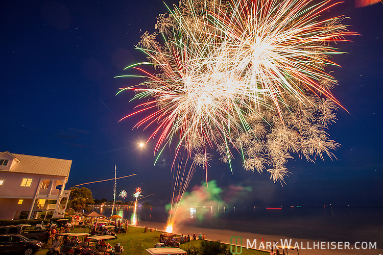 4th of July fireworks on the beach at Shell Point in Wakulla County, Florida in the Florida panhandle south of Tallahassee.