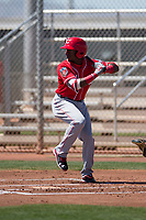 Cincinnati Reds second baseman Shed Long (75) during a Minor League Spring Training game against the Chicago White Sox at the Cincinnati Reds Training Complex on March 28, 2018 in Goodyear, Arizona. (Zachary Lucy/Four Seam Images)