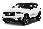 2019 Volvo XC40 R-Design 5 Door SUV angular front stock photos of front three quarter view