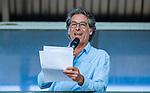 AMSTELVEEN -  Ex international Marc Benninga als speaker,  de hoofdklasse competitiewedstrijd hockey heren,  Amsterdam-SCHC (3-1). COPYRIGHT KOEN SUYK