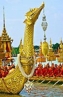 Thailand. Bangkok. Royal barges on the Chaophya River at the king's birthday celebrations.