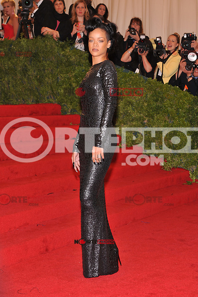 Rihanna at the 'Schiaparelli And Prada: Impossible Conversations' Costume Institute Gala at the Metropolitan Museum of Art on May 7, 2012 in New York City. ©mpi03/MediaPunch Inc.