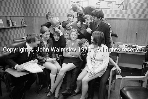 Posing for the camera, Whitworth Comprehensive School, Whitworth, Lancashire.  1970.